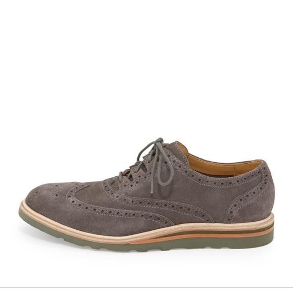 Cole Haan Grey Suede Wingtip Shoes Mens